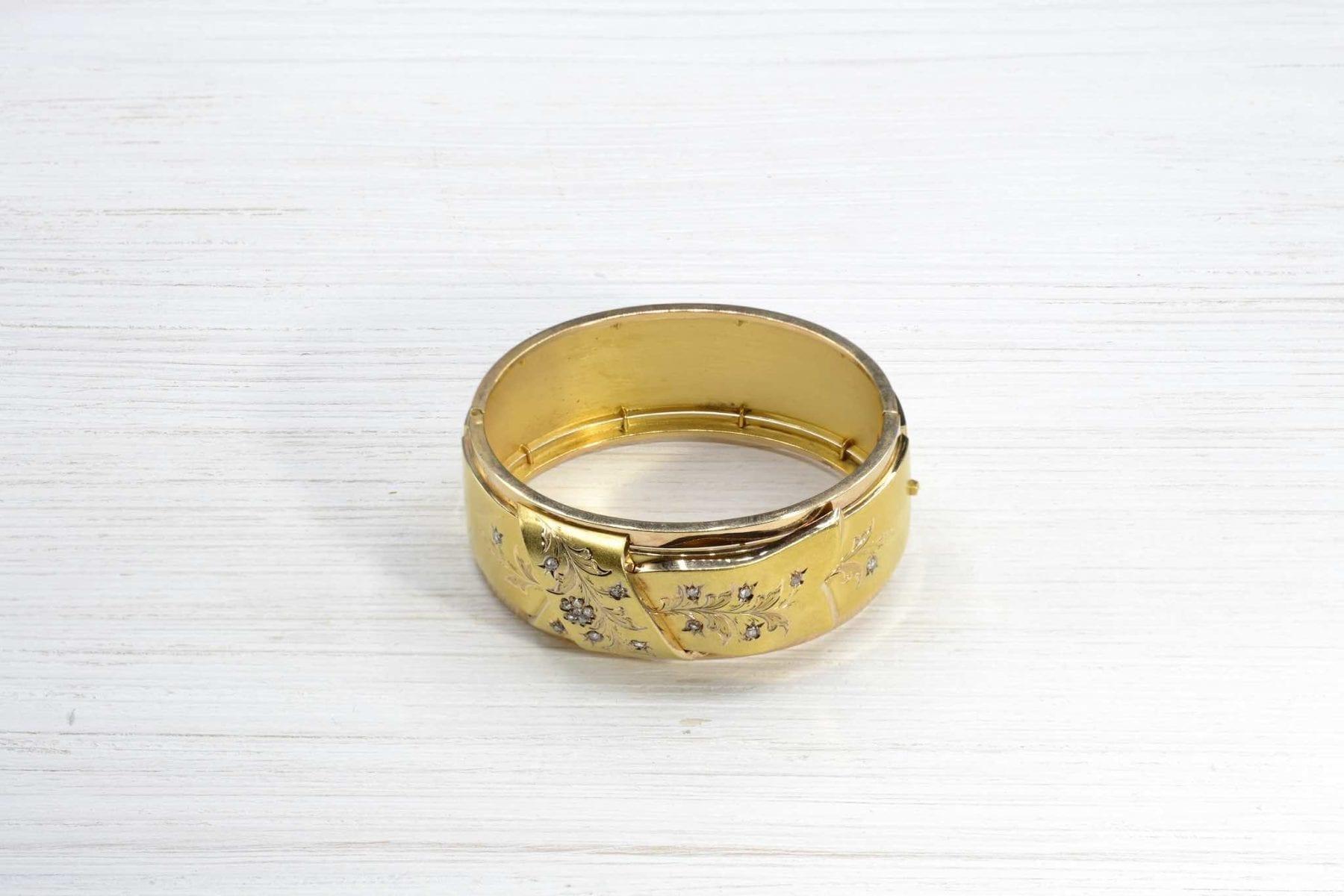 Bracelet Napoléon III diamants en or jaune 18k