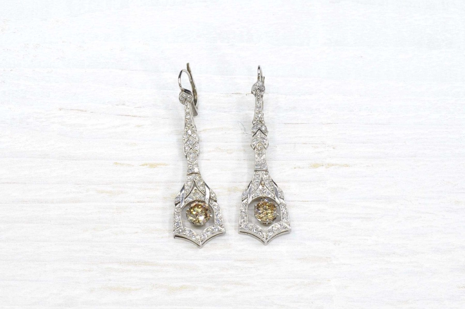 Boucles d'oreilles diamants art deco
