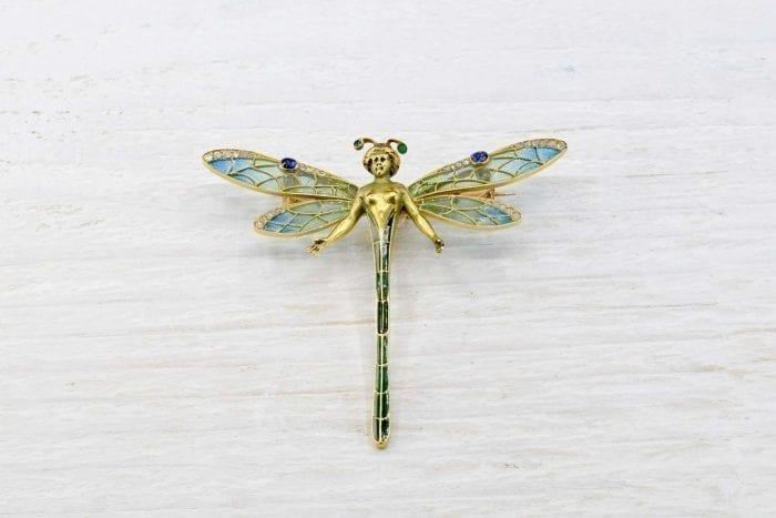 Broche Art nouveau figurant une libellule