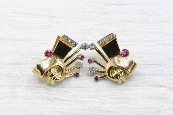Boucles d'oreilles clips 1940 rubis et diamants
