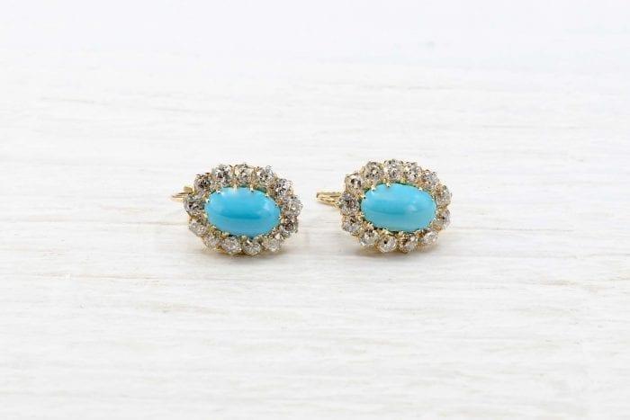 Boucles d'oreilles turquoises diamants