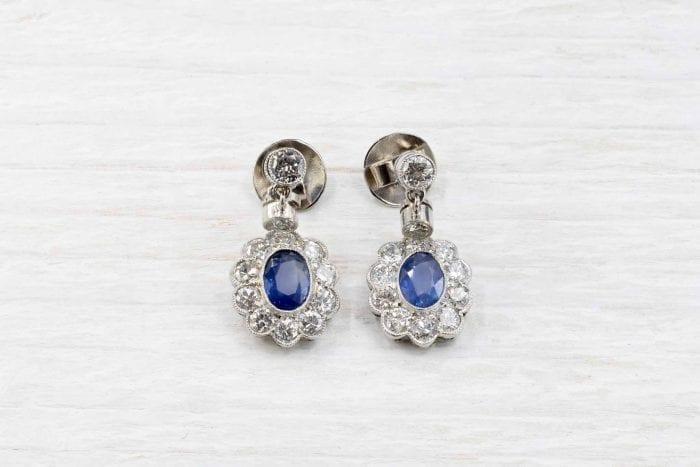Boucles d'oreilles vintage saphirs et diamants