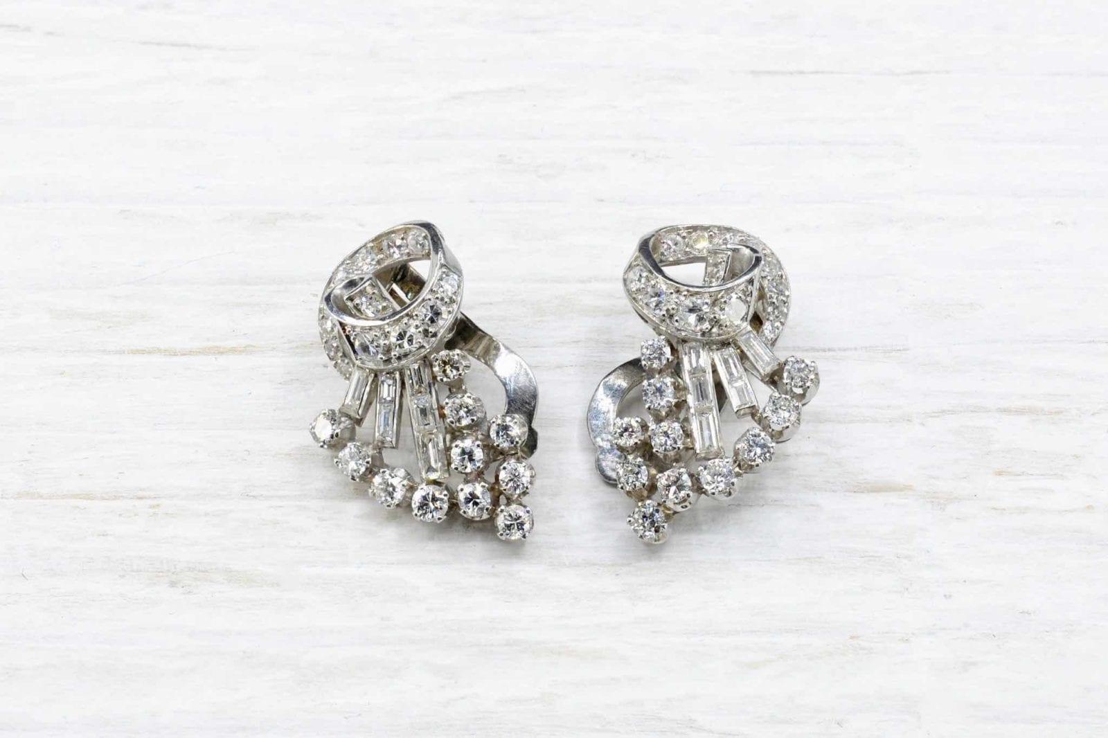 Boucles d'oreilles platine diamants