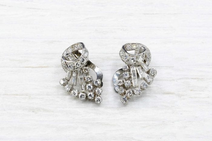 Boucles d'oreilles 1940 diamants
