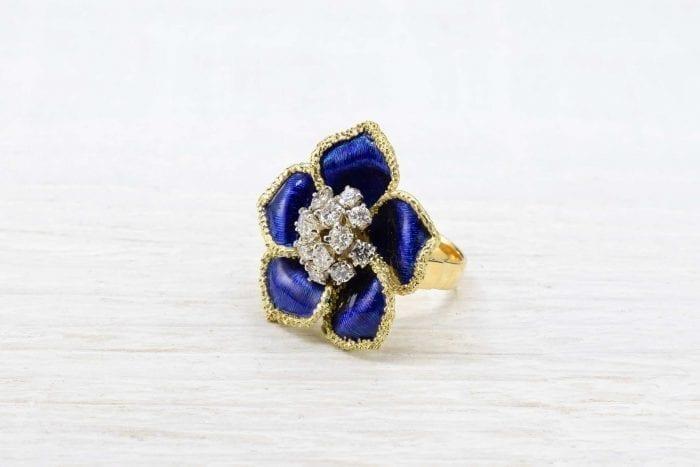 bague émail diamants