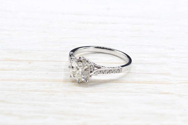 solitaire diamant ancien d'époque