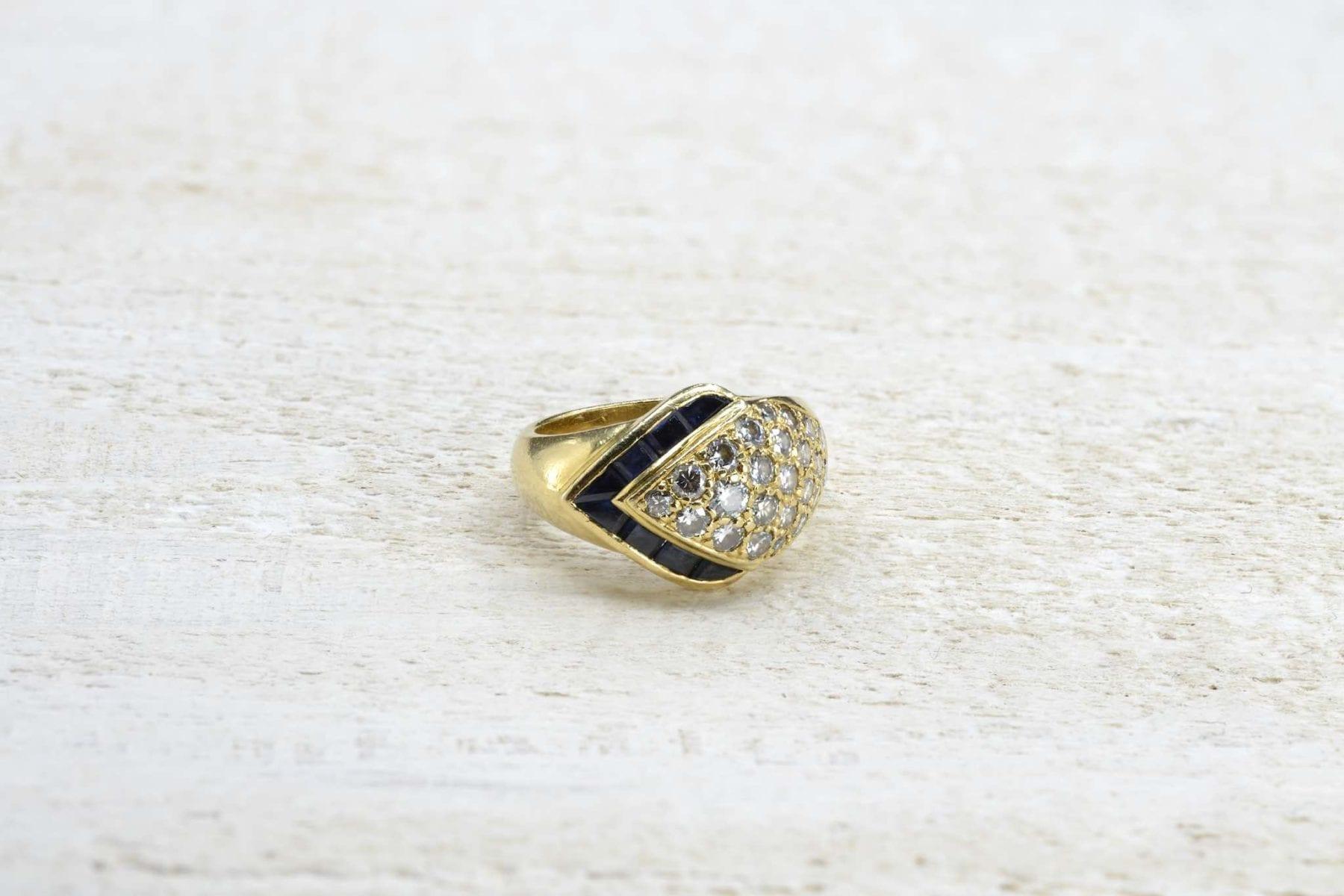 Bague ancienne diamants saphir