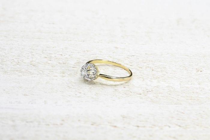 bague or diamants ancienne