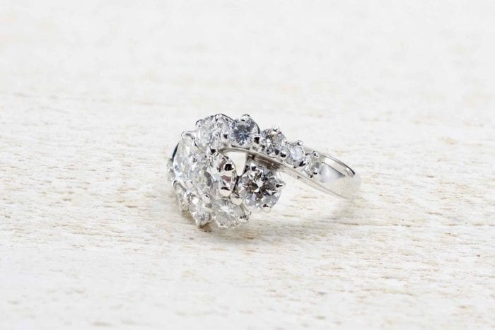 Bague vintage diamants en or blanc 18k
