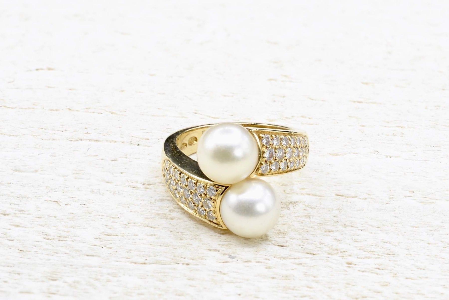 bague perles et diamants or