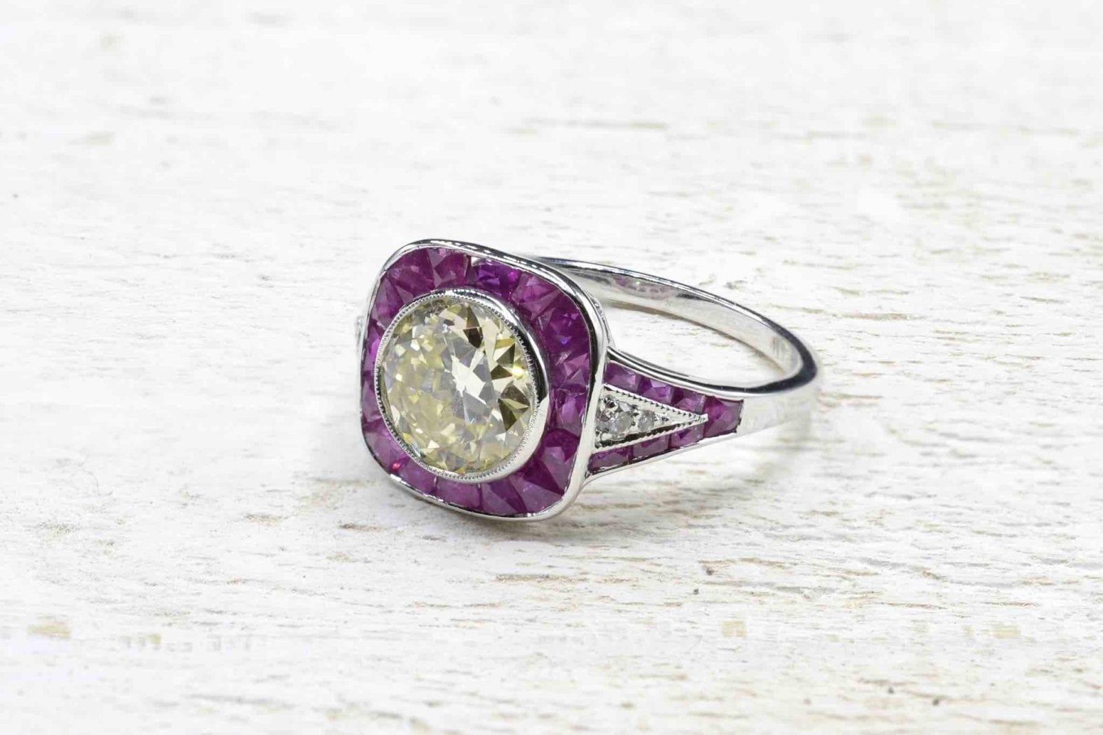 bague diamant et rubis calibrés
