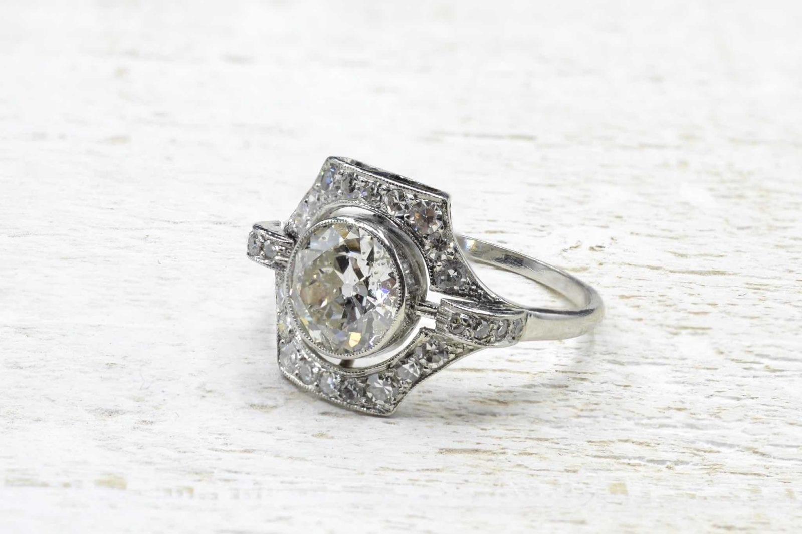 bague art déco diamants en platine