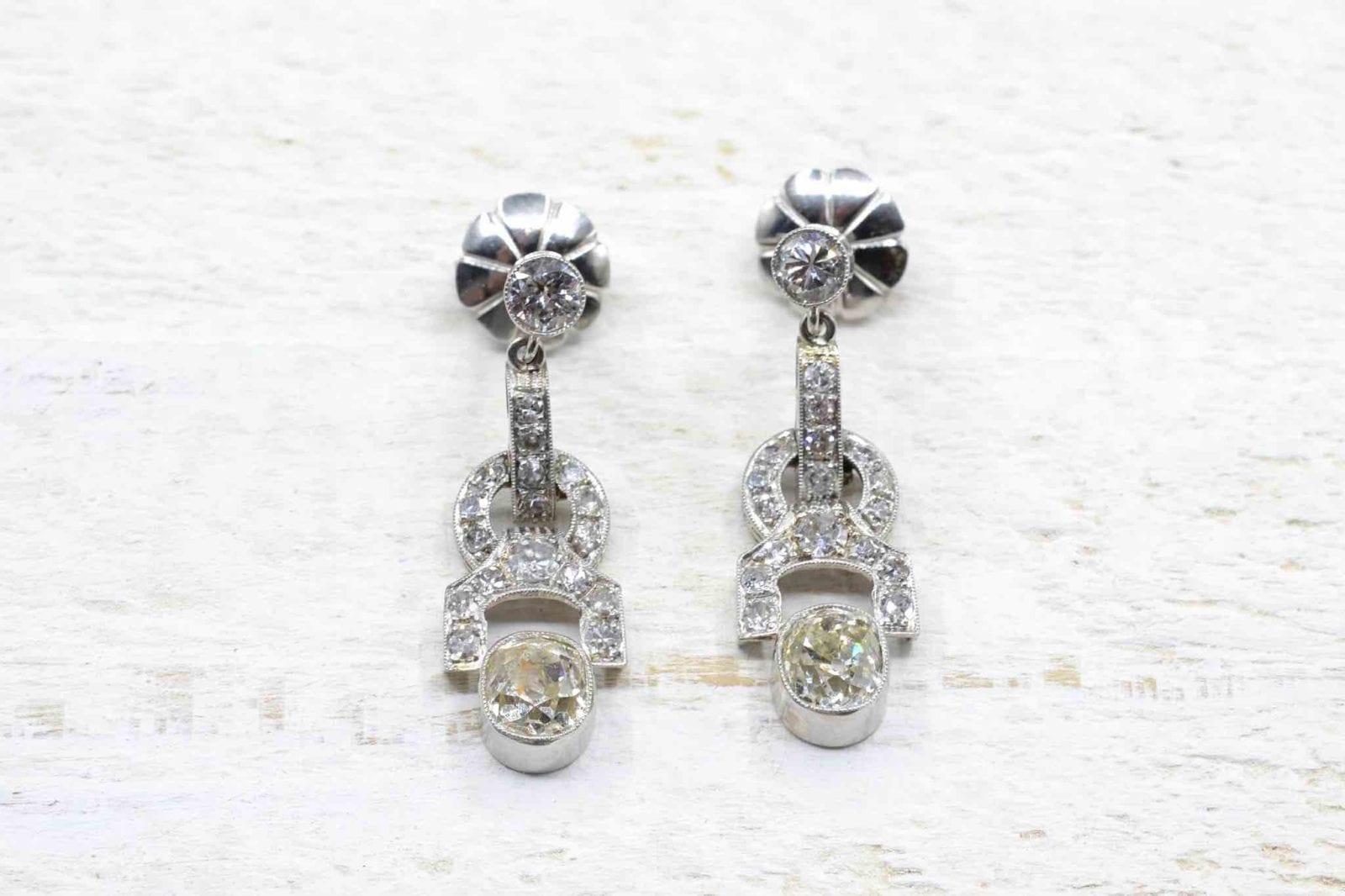 Boucles d'oreilles art déco diamants