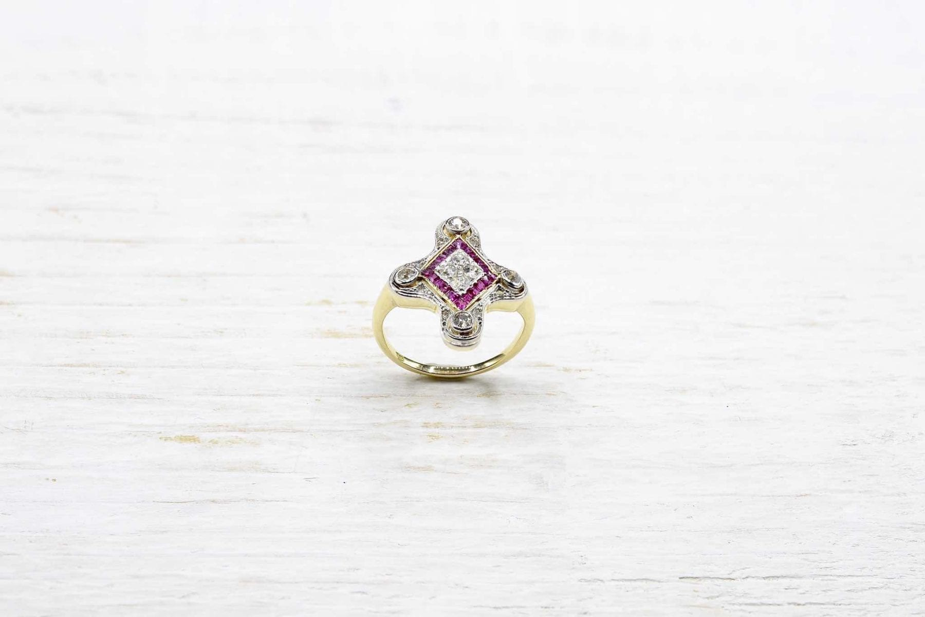 bague vintage art-déco rubis diamants
