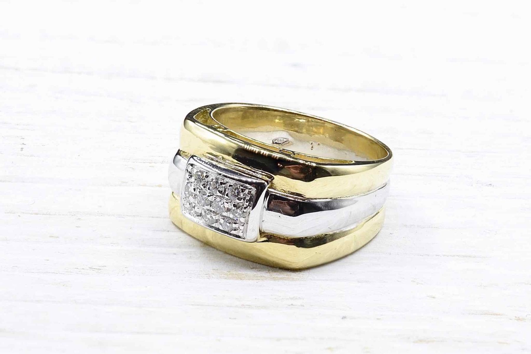 Bague diamants or jaune et or blanc 18k
