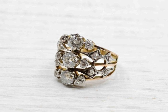Bague 1900 diamants platine et or jaune 18k