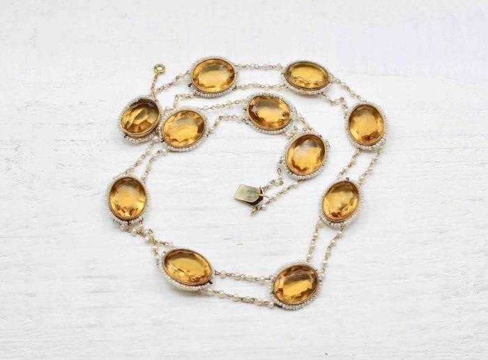 Collier 19e verre taillé et perles fines
