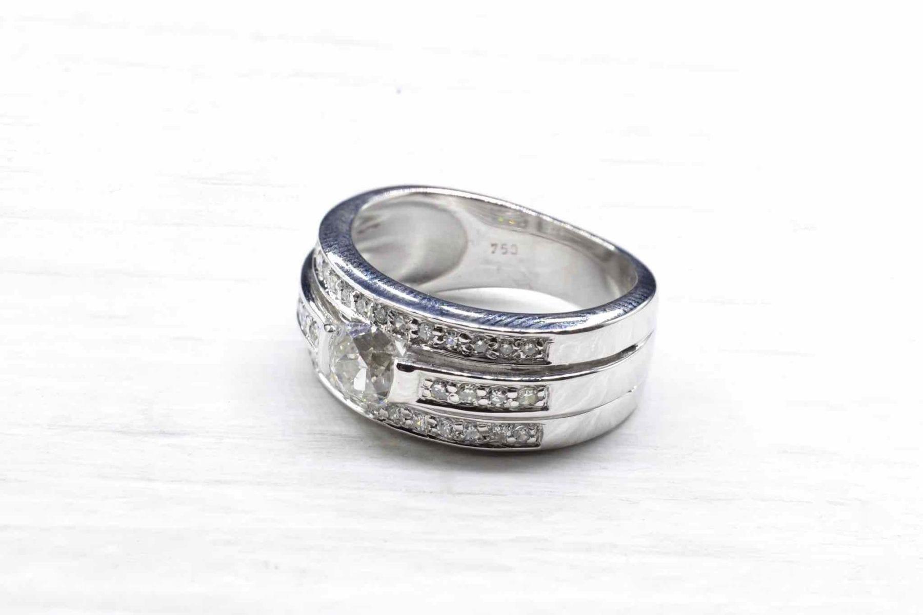 bague bandeau diamants en or blanc 18k
