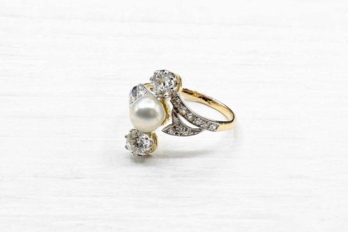 Bague perle diamants 1900 en or jaune 18k