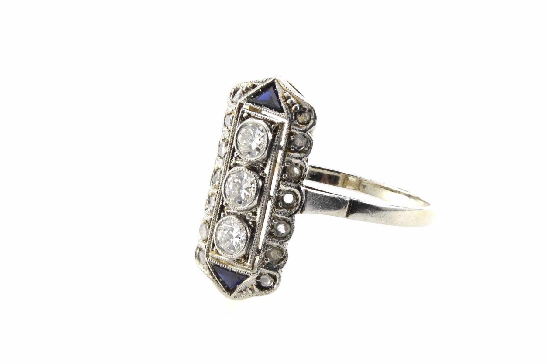bague Art Déco 1920 diamants en platine