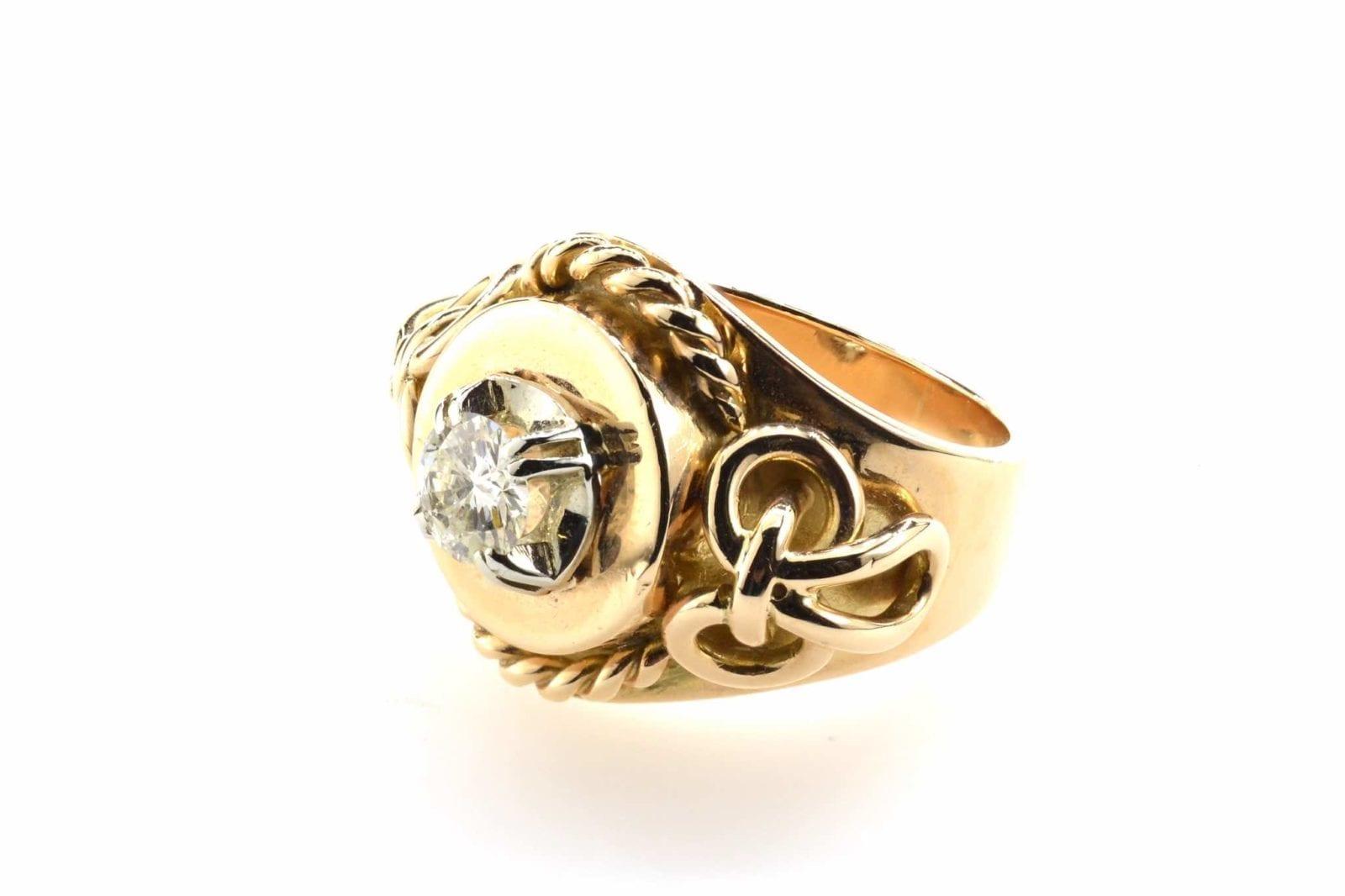 bague ancienne or jaune diamants