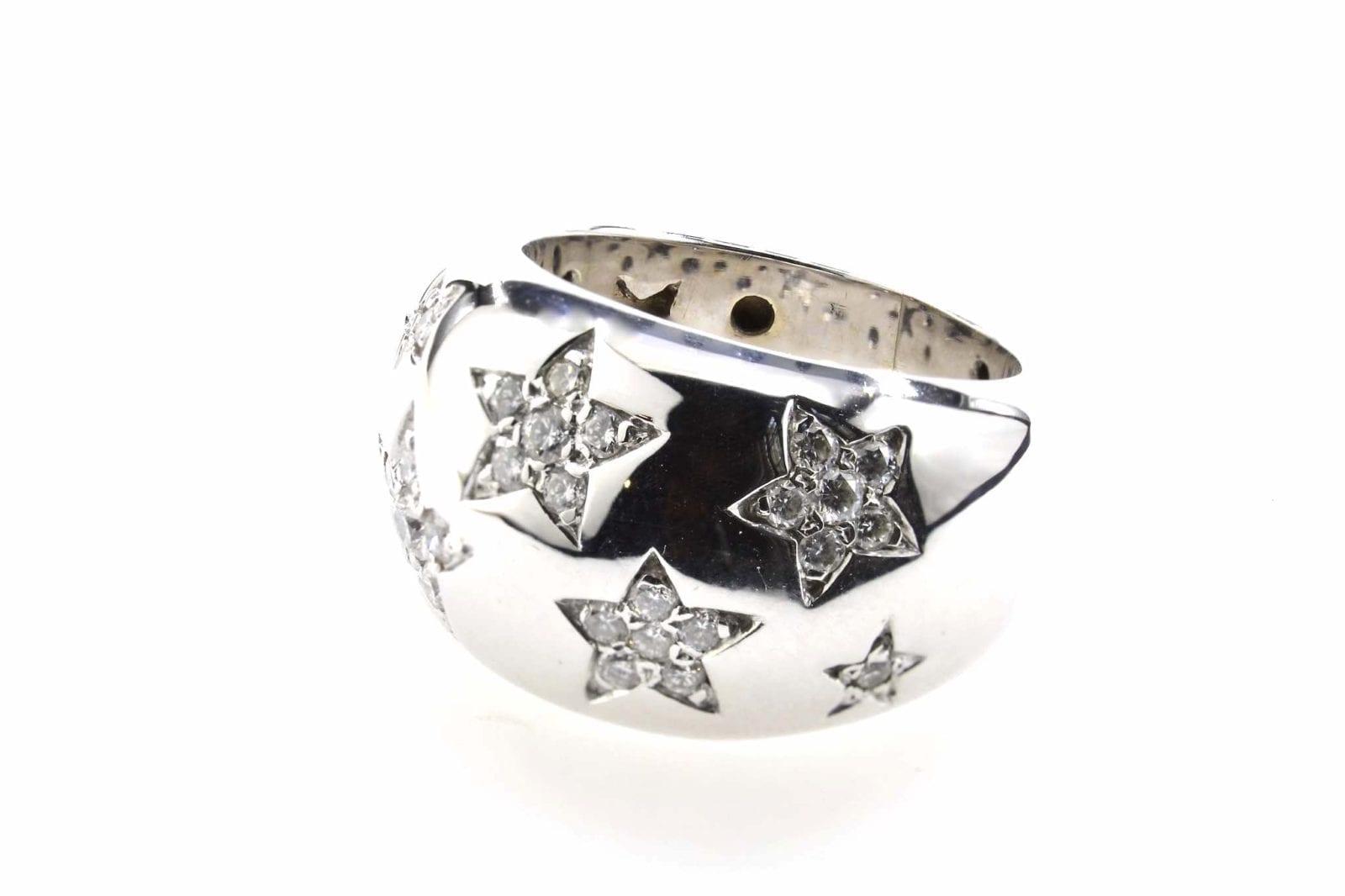 bague étoiles diamants en or blanc 18k