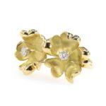bague fleur en or