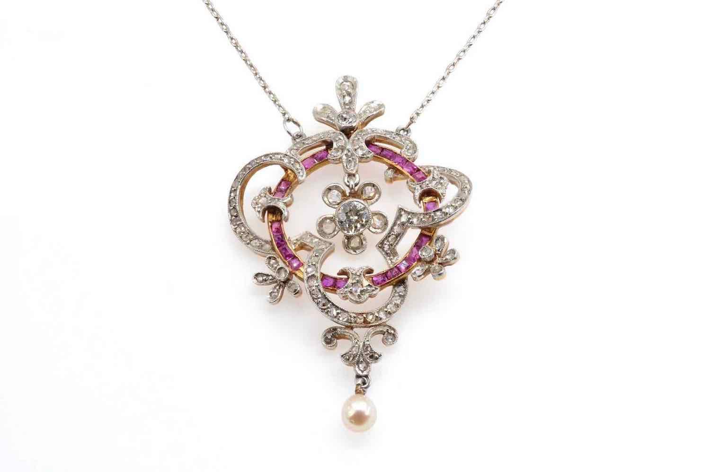 collier perle diamants