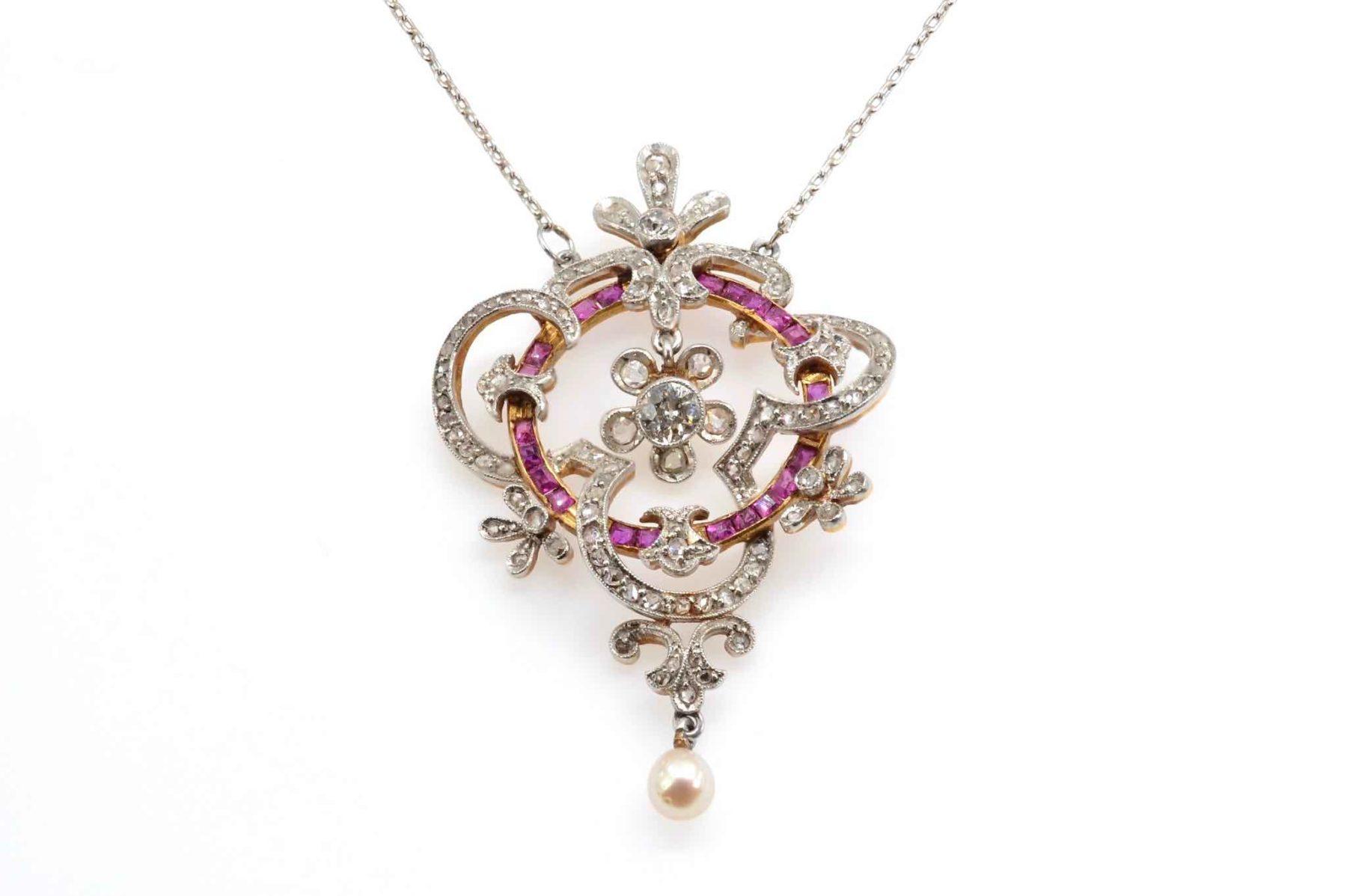 pendentif 19e siècle diamants rubis