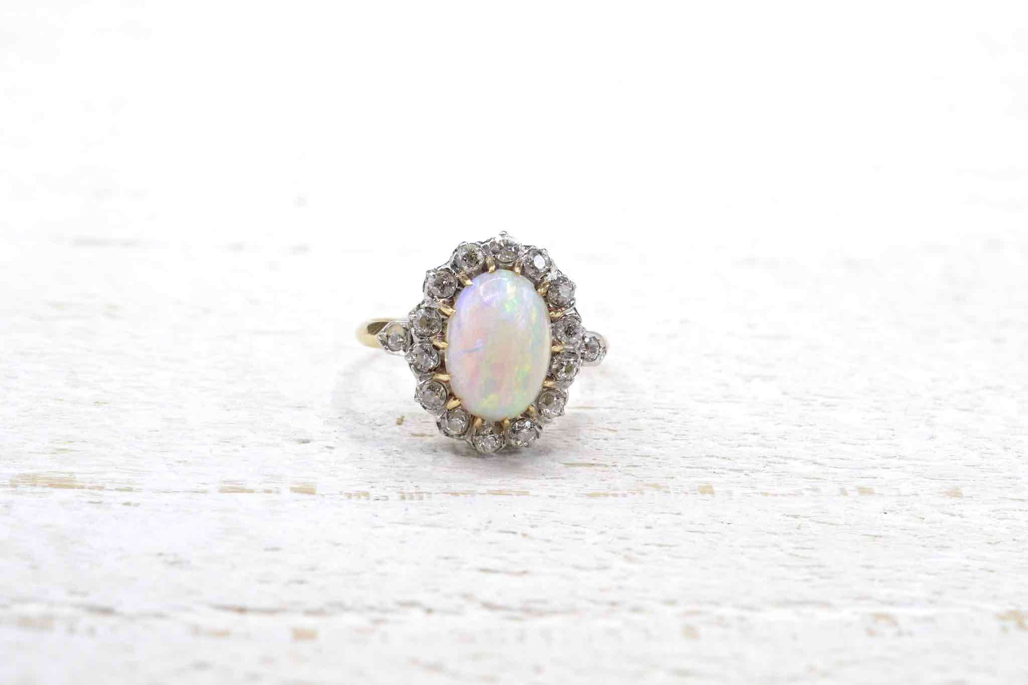 bague opale or et platine