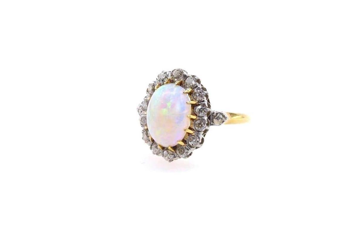 bague opale diamants ancienne