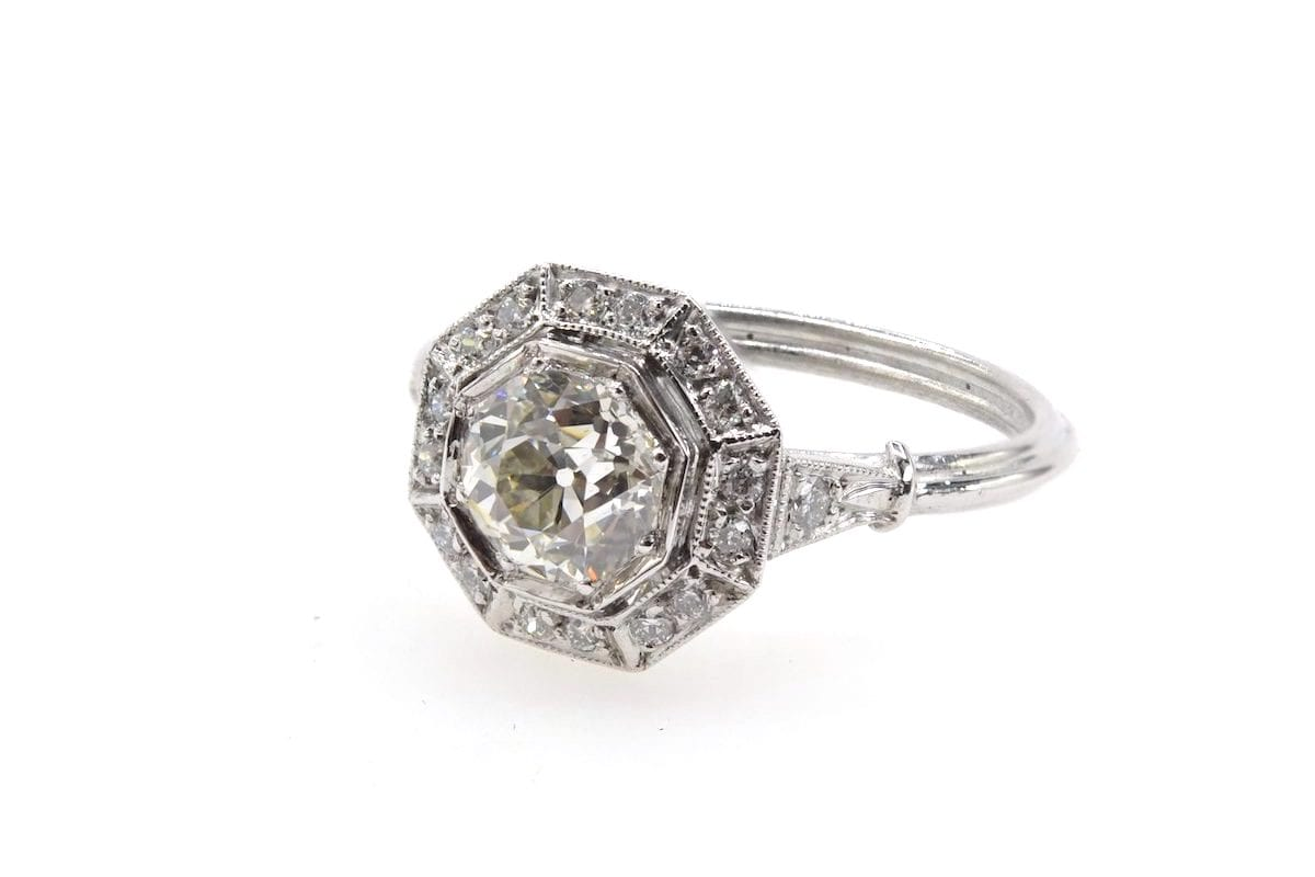 bague octogonale Art Déco diamants