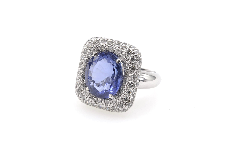 Bague saphir et diamants en or blanc 18k