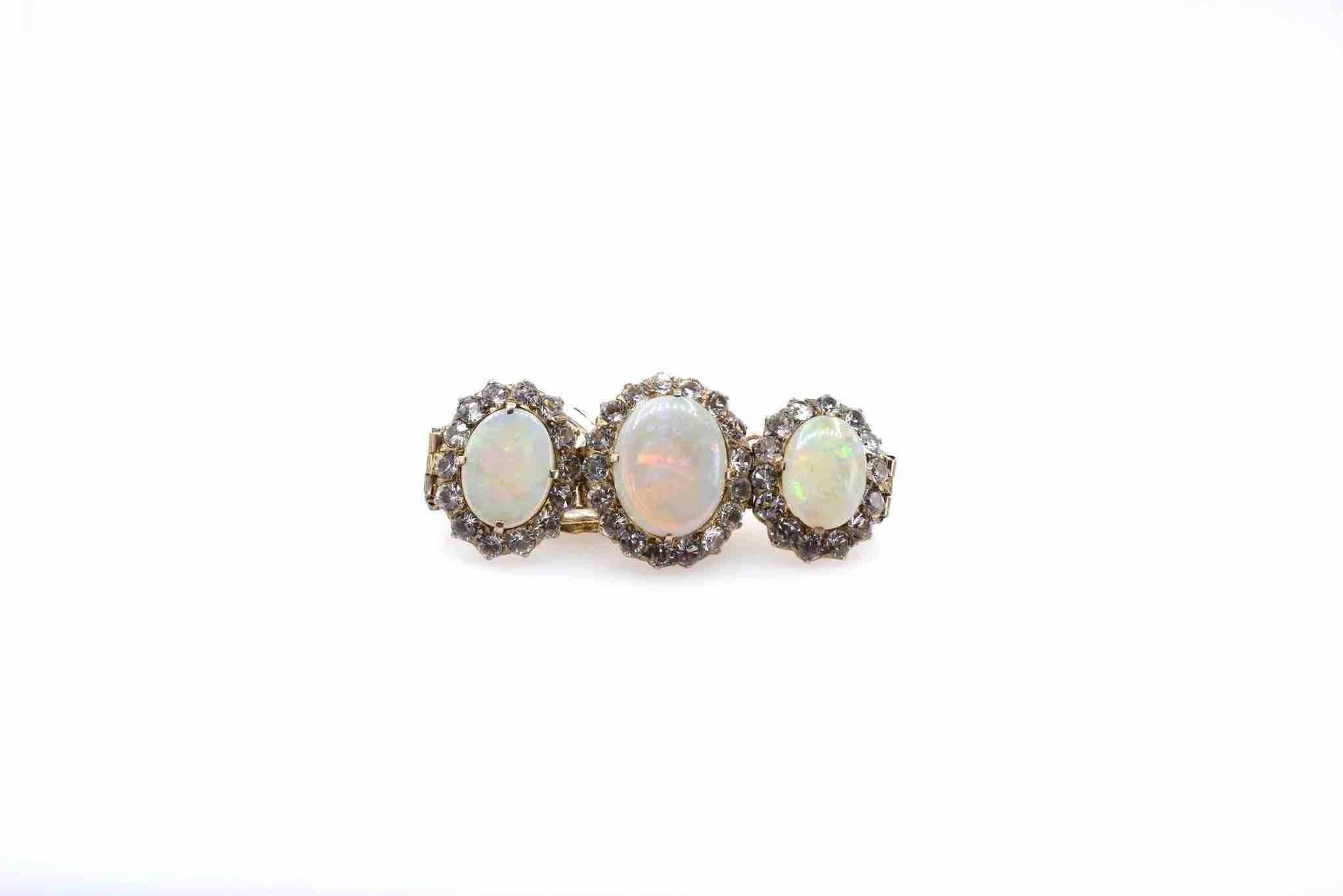 bracelet ancien opales en or 9k