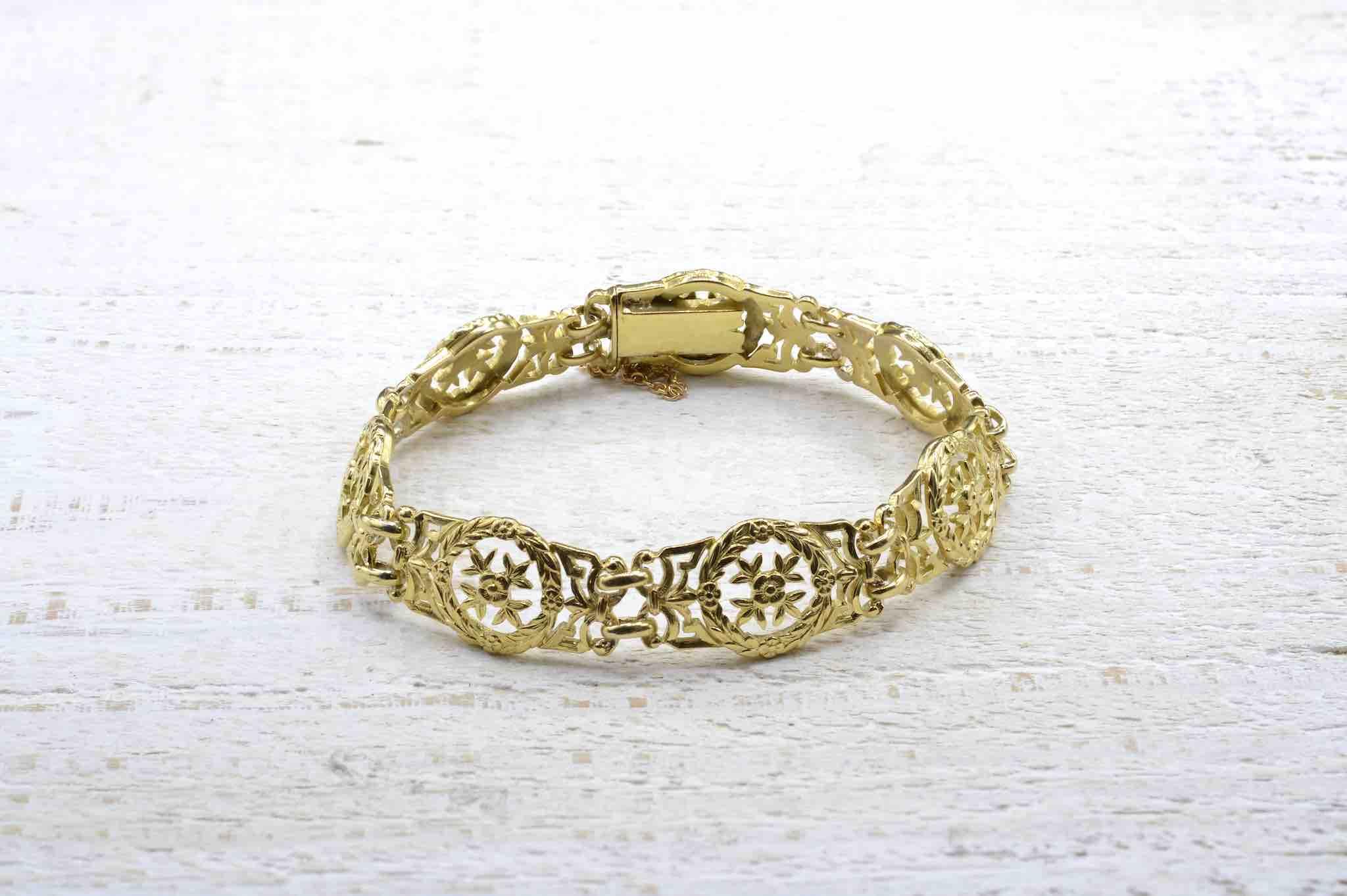 Bracelet Napoléon III vintage en or jaune 18k