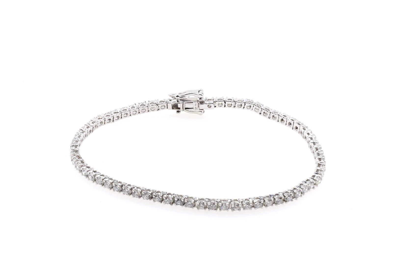 bracelet ligne diamants en or blanc 18k
