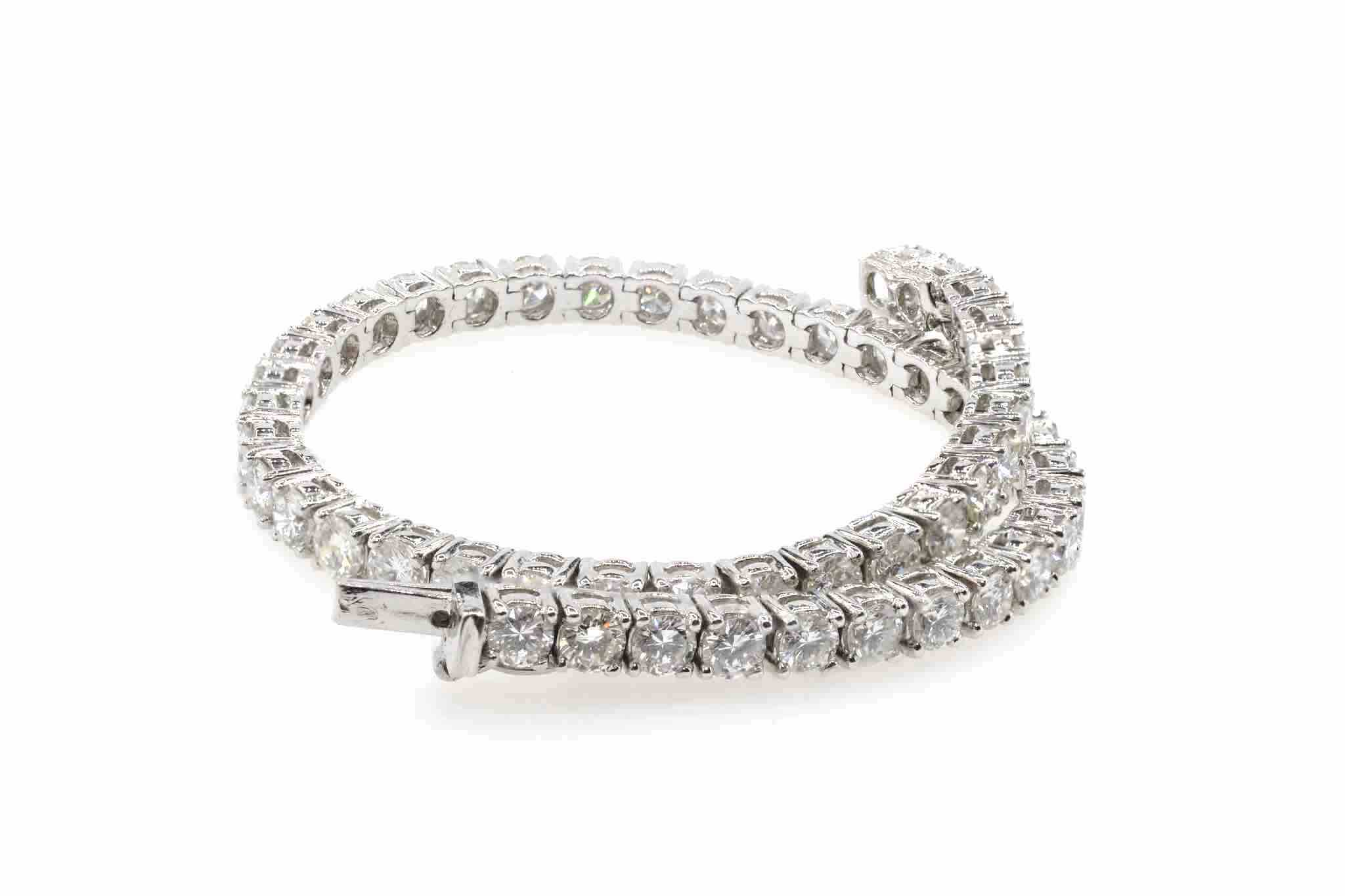 bracelet rivière de diamants en or blanc 18k