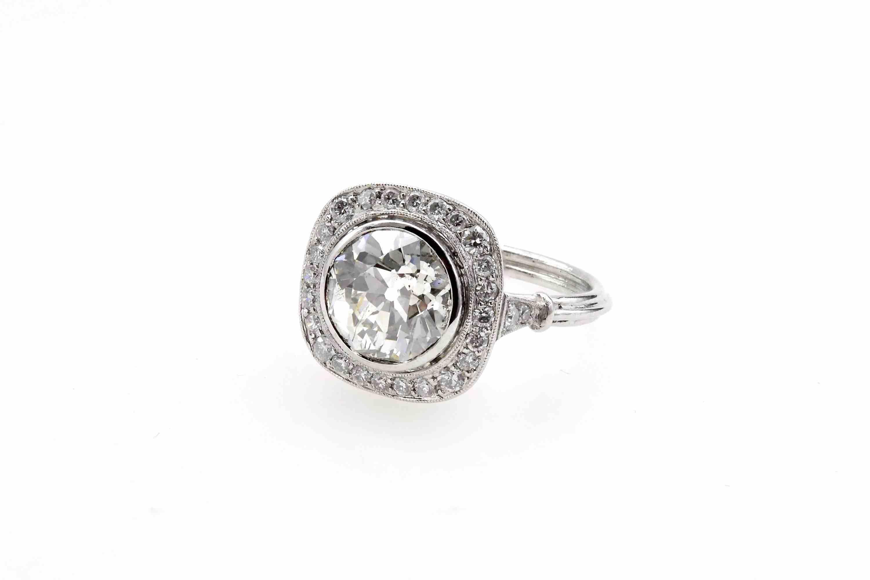 Bague coussin diamant de 2,92 carats en platine