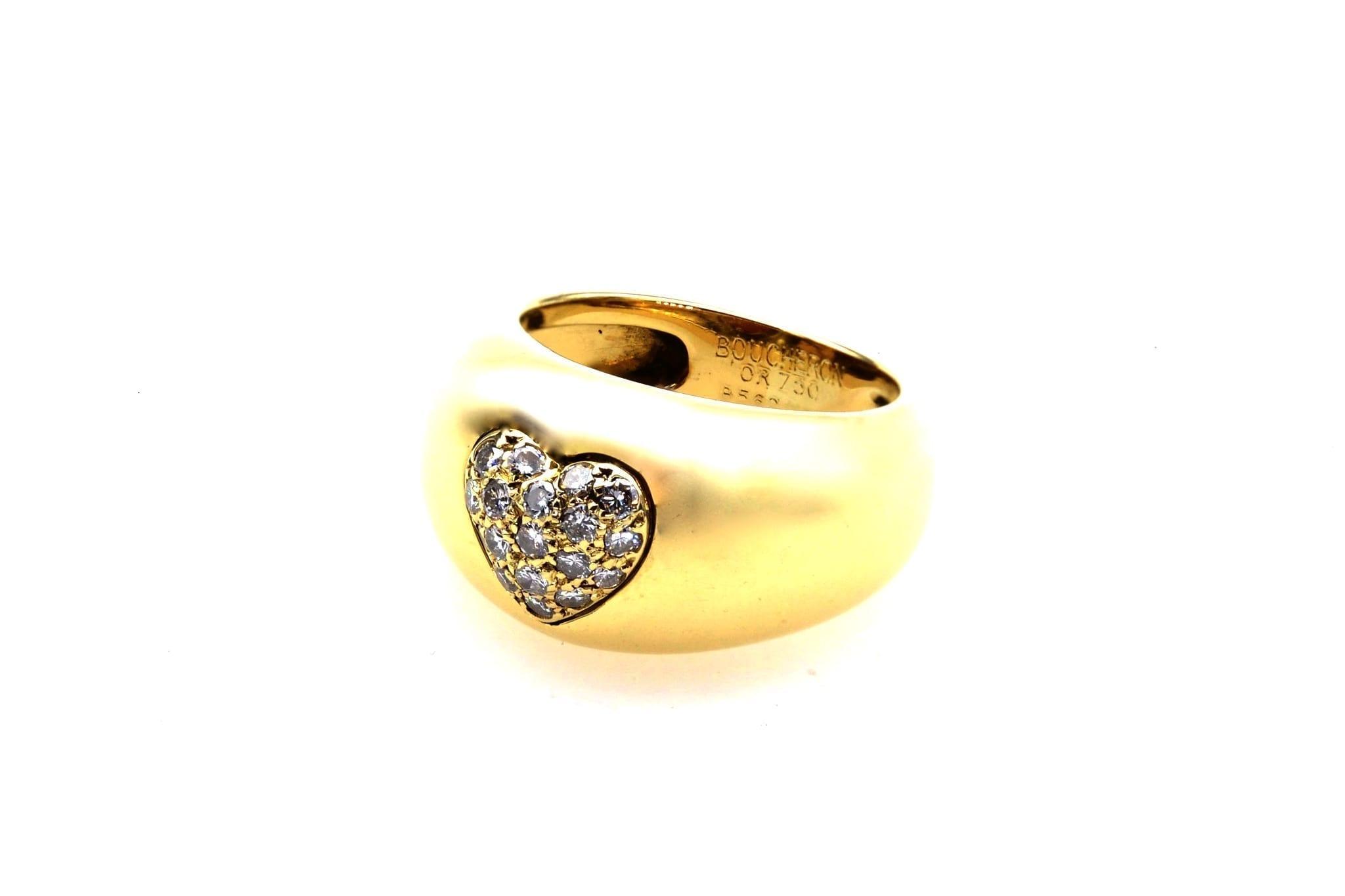 Bague Boucheron coeur pivotant citrine et diamants