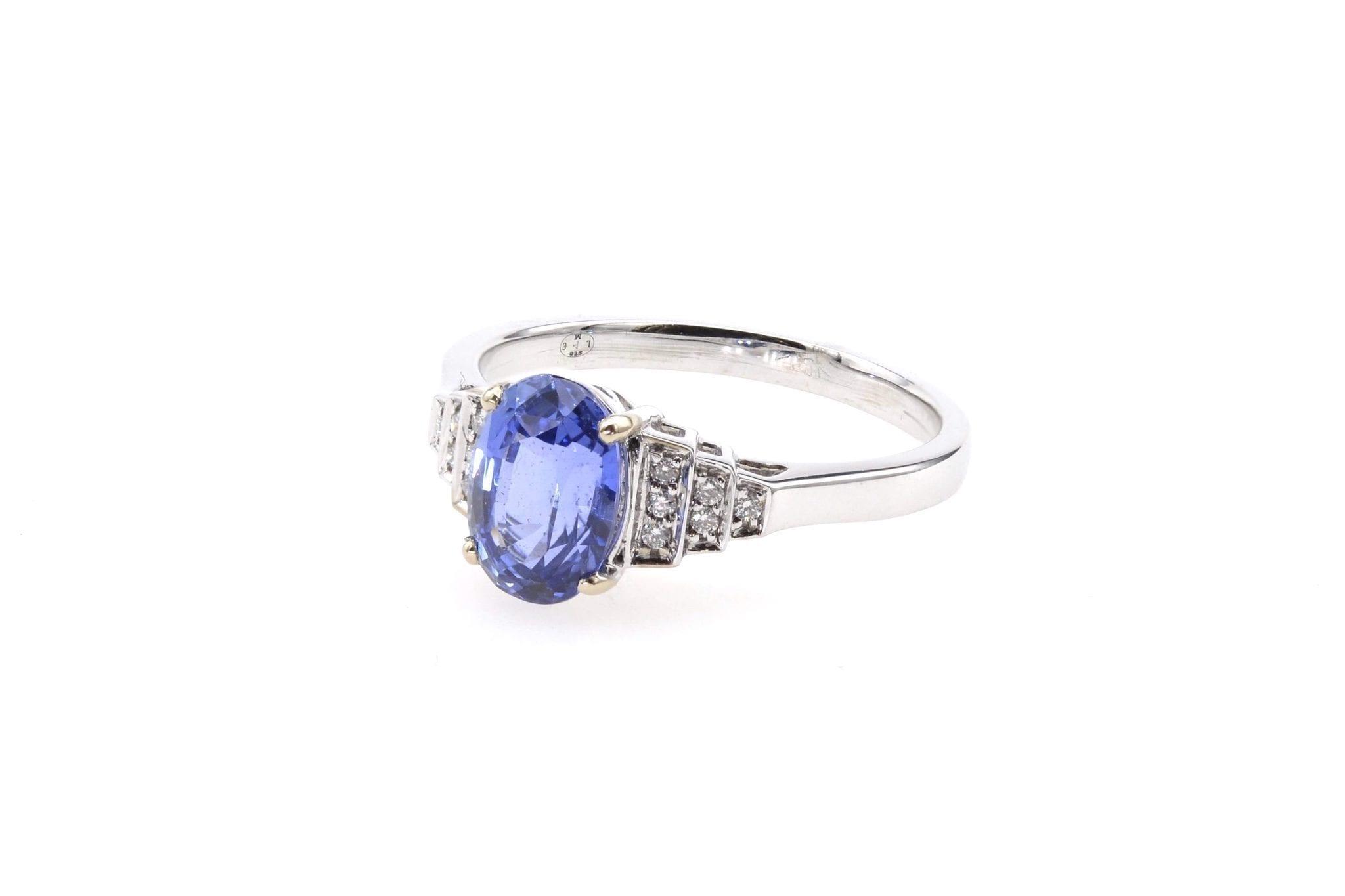 Bague saphir diamants en or blanc 18k