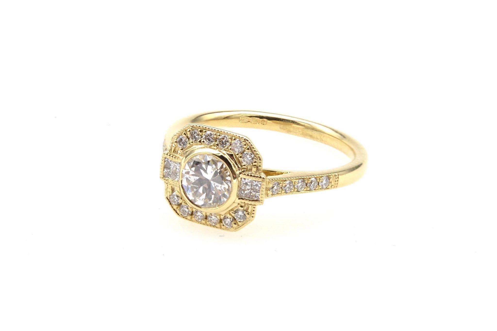 Bague de style Art Déco diamants en or jaune 18k