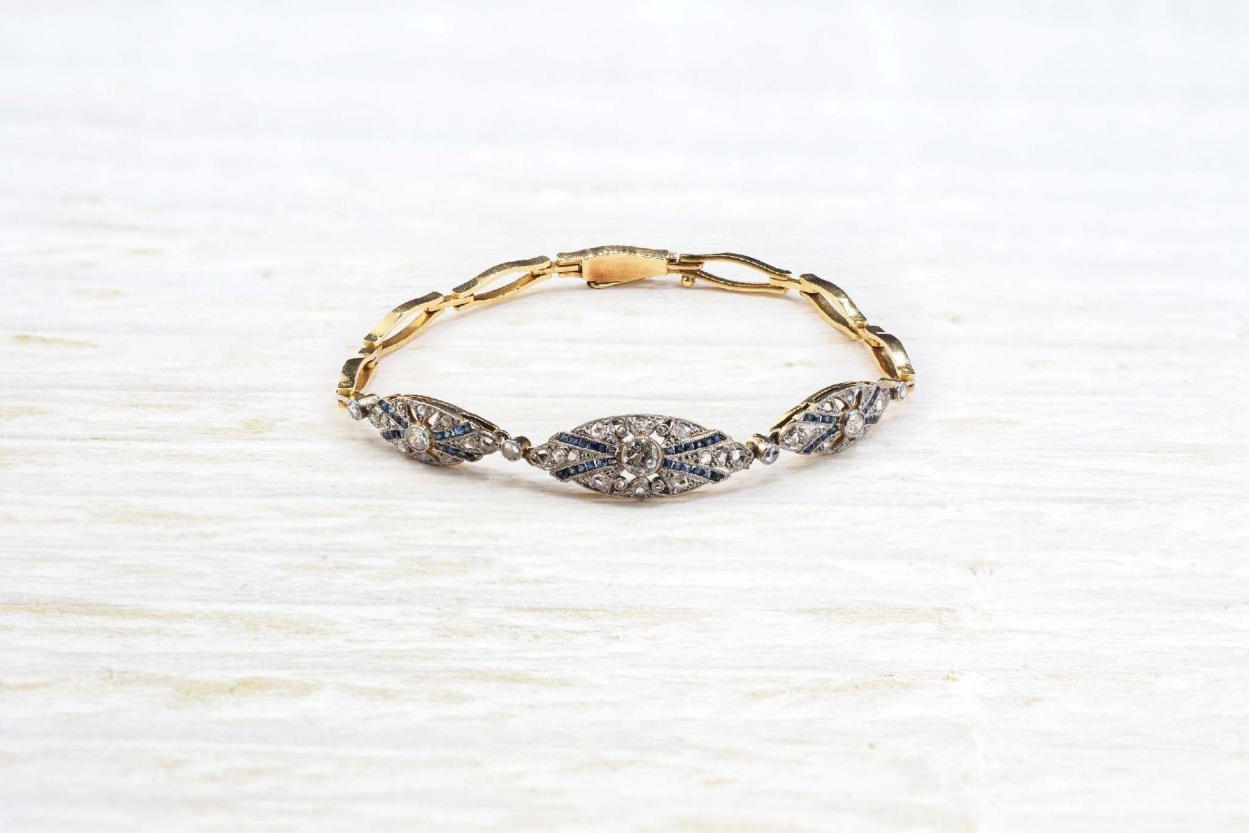 bracelets art déco saphirs diamants