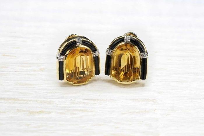 Boucles d'oreilles citrines de style Art Déco