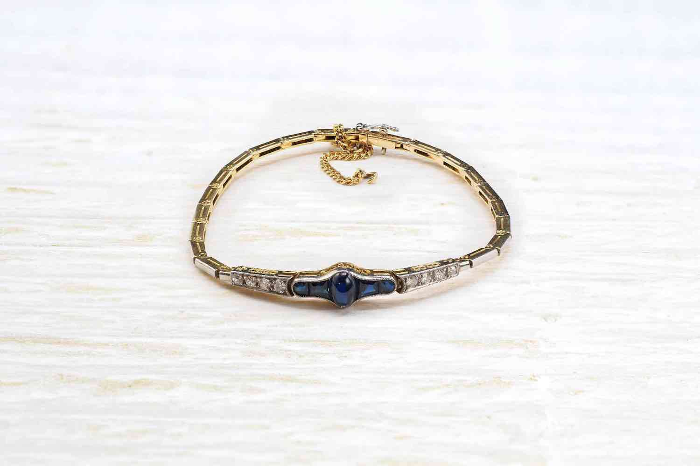 bracelet vintage or saphir