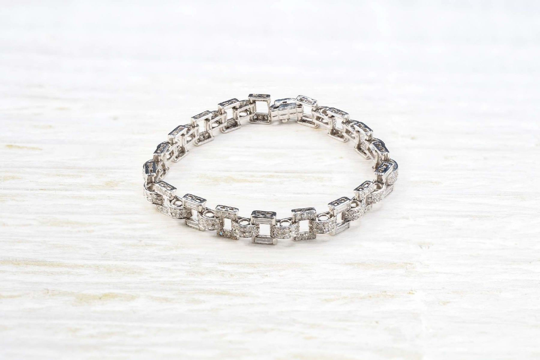 Bracelet diamants platine