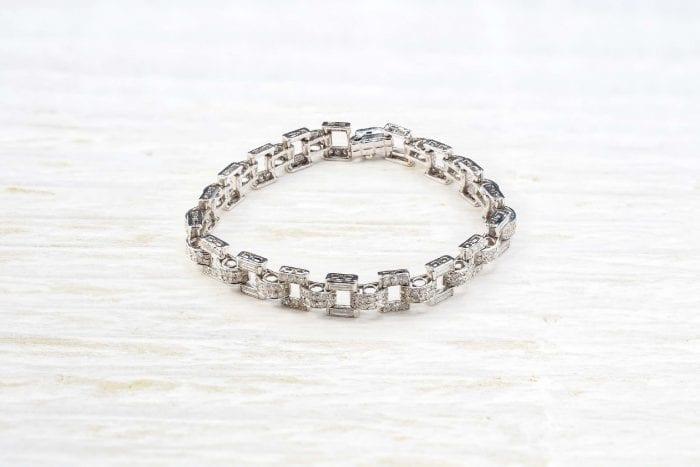 Bracelet diamants platine art déco d'époque