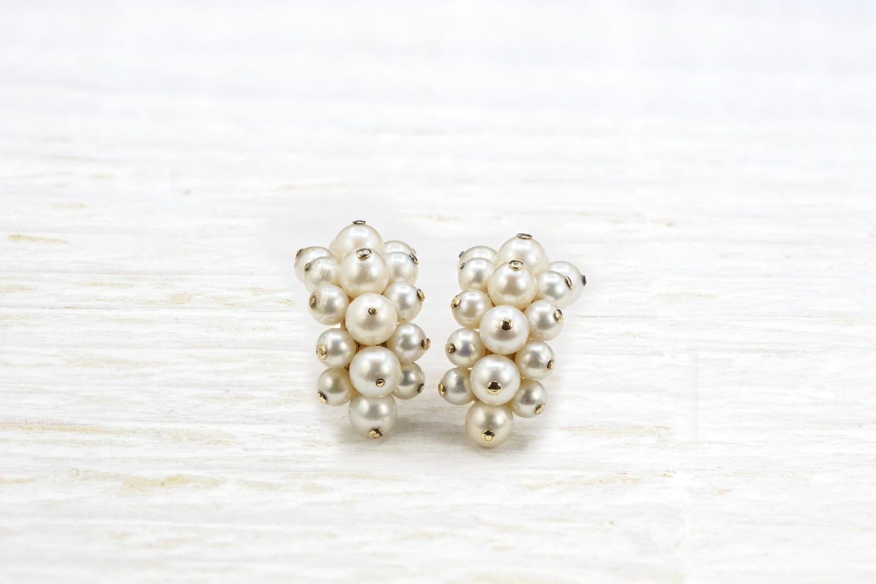 Boucles d'oreilles perles en or d'occasion