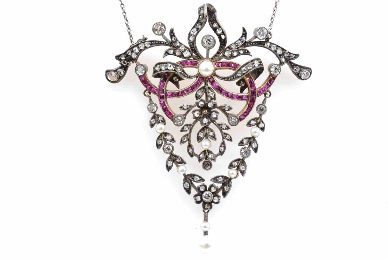 collier ancien rubis diamants et perles fines