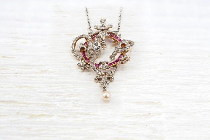 Pendentif 19e siècle diamants rubis d'occasion
