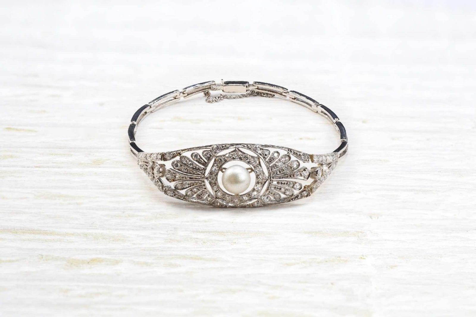 bracelet art déco diamants et perle